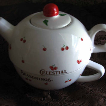 Adorable Celestial Seasonings Individual Stackable Tea Pot & Tea Cup Vintage Cherry Design, 3pc, Great Gift For Any Tea Lover