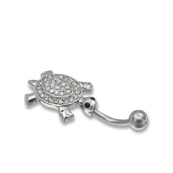 ac DCCKO2Q Lovely Stainess Steel Tortoise Rhinestone Belly Button Ring Tassel Dangle Navel Body Jewelry Piercings Free shipping