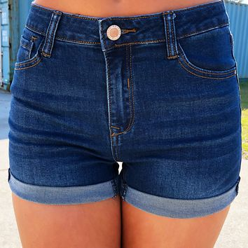 Denim Blues Shorts: Dark Denim
