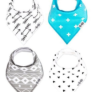 Cute Baby Bandana Drool Bibs with Snaps 4 Pack | Absorbent Organic Cotton | Unisex Baby Shower Gift Set for Boys & Girls | Best Gender Neutral Scabib for Toddlers & Infants | Teething Dribble Reflux