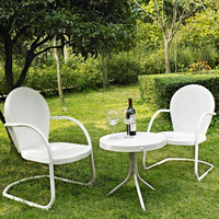 White 3-Piece Outdoor Patio Furniture Seating Group w/ Table & 2 Chairs