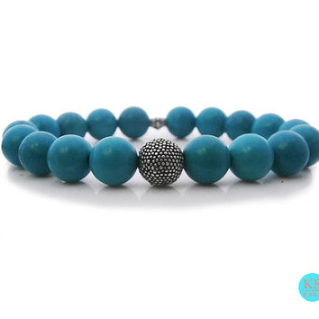 Men's Turquoise and 925 Sterling Silver Granulation Bead Bracelet, Men's 10mm Turquoise and Sterling Silver Bali Bracelet