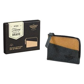 WILD AND WOLF ZIP UP WALLET RECYCLED LEATHER BLACK & TAN