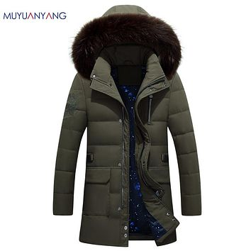 Men' s Duck Down Jackets With Fur Collar Casual Long Jacket High Quality Duck Down For Male Zipper Coat
