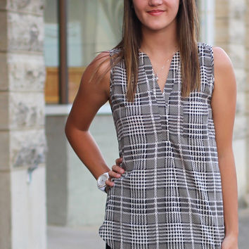 Maryland Striped Pattern Tank {Black Mix}