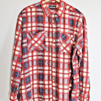 Vintage 1970s Flannel + Plaid Rancher Shirt
