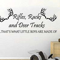 Wall Decals Quotes Vinyl Sticker Decal Quote Rifles Racks and Deer Tracks ...THAT'S WHAT LITTLE BOYS ARE MADE OF Phrase Home Decor Nursery Bedroom C522