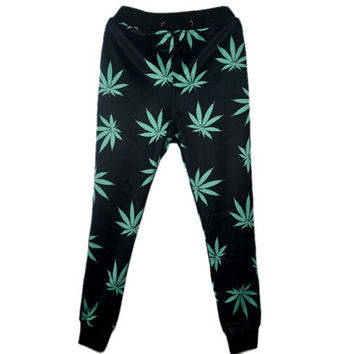 Drop shipping! Harajuku style 3D print joggers for men/women hemp weed leaf sweatpants fashion trousers emoji pants