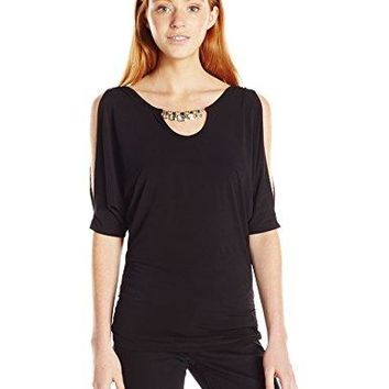 A Byer Juniors Cold Shoulder Rouched Top with Tummy Tuck and Neck Embellishment