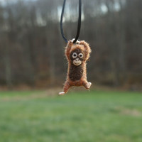 Tiny Baby Orangutan Necklace / sculpture - needle felted