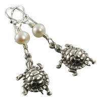 Sterling Silver Turtle Earrings, Tortoise Earrings