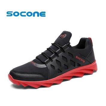 Socone Men Running Shoes Autumn Walking Shoes Male Outdoor Lace-up Sport Sneaker Light
