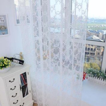 DCCKU7Q Super Deal  Lattice Tulle Door Window Curtain Drape Panel Sheer Scarf Valances XT