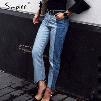 Simplee Denim boyfriend jeans for women bottoms female jeans pants Blue patchwork casual pants capris Pocket straight jeans