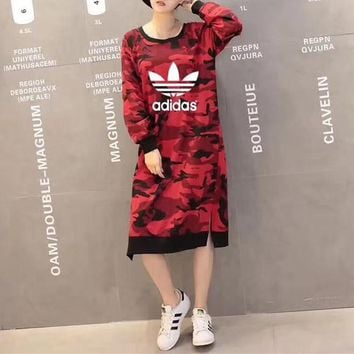 """Adidas"" Women Casual Camouflage Loose Long Sleeve Long Section Sweater Dress"