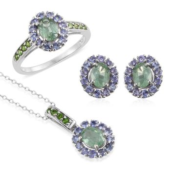 Kyanite, Tanzanite, Russian Diopside  Sterling Silver Necklace and Earring