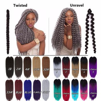 20 Colors Jumbo Twist Crochet Braiding Hair Mambo Ombre Synthetic Hair Extensions(22inch)