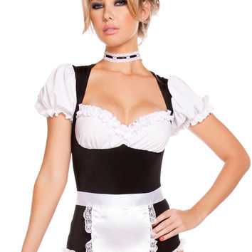 Puff Sleeve Sweetheart Neck Cleaning Maid Costume Set