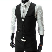 Dress Vests For Men Slim Fit Mens Suit Vest Waistcoats Gilet Homme Colete chaleco Casual Sleeveless Formal Business Jacket 5XL