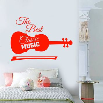 Vinyl Wall Decal Classical Music Violin Words Musical Instrument Stickers Unique Gift (2102ig)