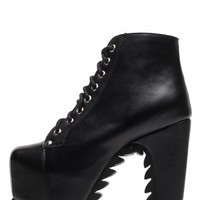 Jeffrey Campbell Shoes LITA-TREAD The Vault in Black Leather