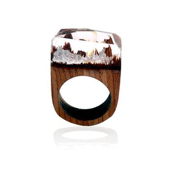 New Design Rose Blooming clear Wooden Miniature Worlds Inside Ring For Women Resin Finger Jewelry