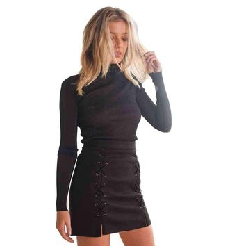 Fashion Bandage Suede Fabric Sweat Girls Women Skirt Slim Seamless Stretch Tight Straight Short Mini Skirt vestidos mujer#LSN