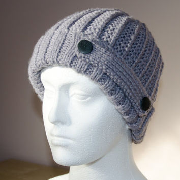 Mens Beanie Hat - Knitted Hats for Men - Mens Winter - Hand Knitted Hat - Grey / Gray Knitted Hat - Boyfriend Gift - Husband Gift - For Men