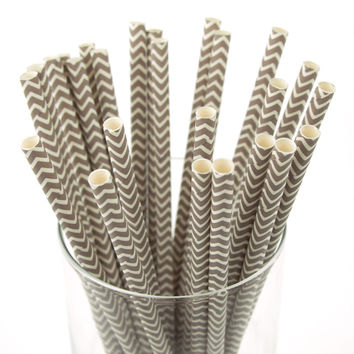 Chevron Paper Straws, 7-3/4-inch, 25-pack, Toffee