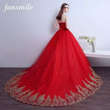 Fansmile 2017 Free Shipping Lace Red Wedding Dress Long Train Plus Size Vintage Ball Gown Robe de Mariee Sirene Vestidos Cheap