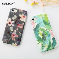 USLION Fashion Flower Leaves Paint Phone Case For iPhone 7 6 6s Plus Frosted Hard PC Cases Back Cover Capa Coque For iPhone7Plus