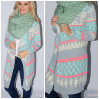 Mint To Be Printed Open Front Cardigan