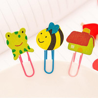 Hot Sale Mini 6Pcs/Lot Cute Cartoon Characters Wooden Paper Clip Bookmark Promotional Gift Stationery School Office Supply