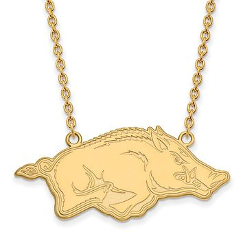 NCAA 14k Gold Plated Silver U of Arkansas Large Pendant Necklace