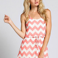 Racerback Chevron Dress - Coral