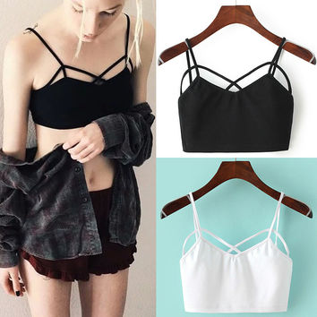 Summer Beach Stylish Comfortable Bralette Hot Sexy High Waist Crop Top Spaghetti Strap Bra Vest [10472194755]