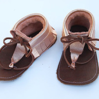 Rose Gold Sandal Moccasins - Sandal Moccs - Brown Leather