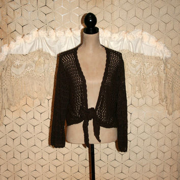 Brown Sweater Crochet Shrug Cardigan Plus Size Boho Hippie Cotton Tie Waist Boho Clothing Hippie Clothing 2X Womens Clothing