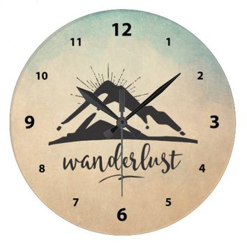 Mountain with Sunrays - Wanderlust Typography Large Clock