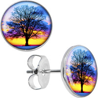 Sunset Tree Stud Earrings