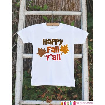 Happy Fall Y'all Shirt - Children's Fall Outfit for Baby Boy or Baby Girl - Onepiece or T-shirt - Autumn Leaves Outfit - Southern Baby