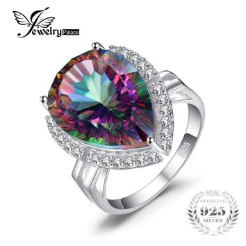 Luxury 13ct Genuine Rainbow Fire Mystic Gem Stone Topaz Pure Solid 925 Sterling Silver Ring  For Women Pear Promotion Brand New