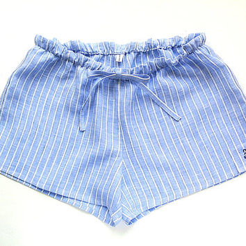 Blue Striped Linen Sleep Shorts, Pajama Shorts, Night Shorts, Sleepwear,Hand Embroidery, Initial, Gifts for her, Made to Order