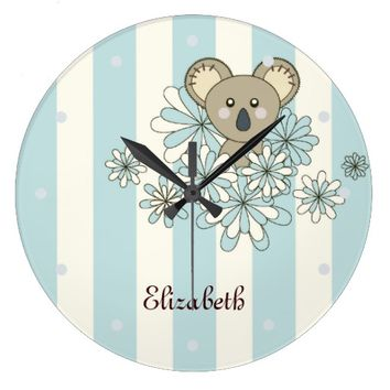 Personalized Cute Animal Round Wall Clocks for Girl's Room: Gift Idea for Neutral Baby Showers or Birthdays: Kawaii Baby Koala