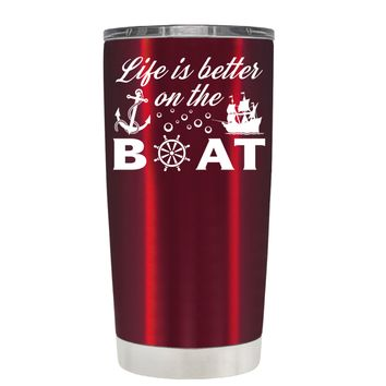 TREK Life is Better on the Boat Sailing on Translucent Red 20 oz Tumbler Cup