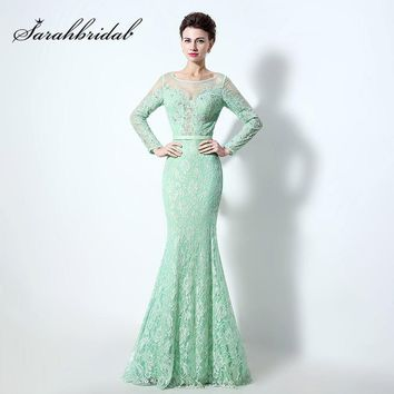 Long Sleeve Lace and Tulle Aqua Green Mermaid Prom Dresses with Beaded Crystal Pageant Dress Elegant Evening Party Gowns LX072