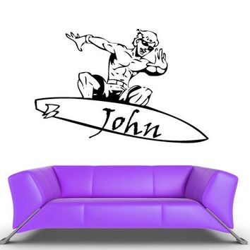 Wall Vinyl Decal Sticker Bedroom Kids Baby Custom Name Skater Surfer Surf Skate z400