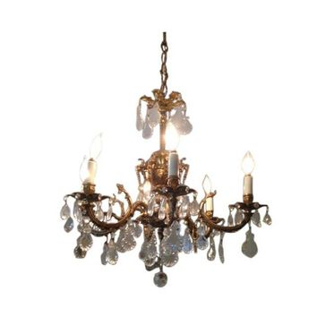 Pre-owned Spanish Brass Vintage Chandelier