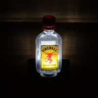 Upcycled Mini Fireball Bottle Night Light, LED Night Light, Upcycled Liquor Bottle