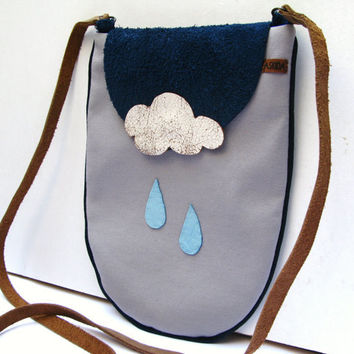 Crossbody,Shoulder, Sling Bag in Grey Gray with Cowhide Leather Strap and Leather Rain Drops & Cloud, Navy Nubuck Flap
